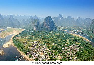Beautiful Karst mountain landscape in Yangshuo Guilin, China...