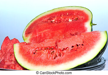 Ripe Red Watermelon - Juicy, ripe, red watermelon slices on...