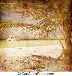 Ship under Palm - Speed Ship on the Old Paper Style Photo....