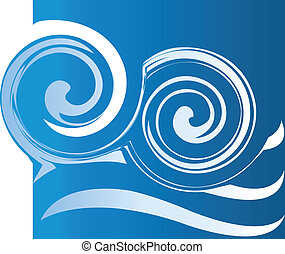 Waves logo - Water waves logo in blue background