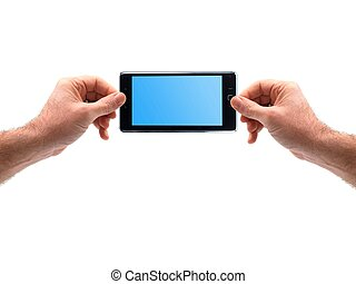 Touch Screen - Hands holding a touchscreen tablet isolated...