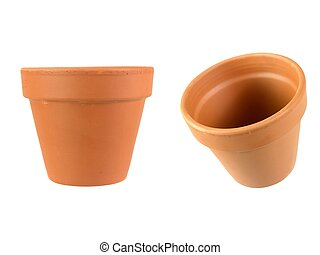 Flower Pot - A clay pot isolated against a white background