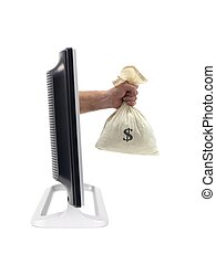 Reaching Out - A LCD TV monitor with a hand pretruding...