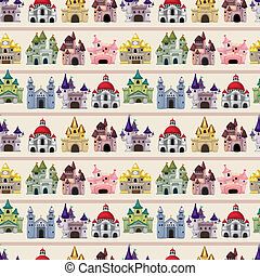 cartoon Fairy tale castle seamless pattern
