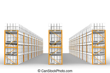 Rack x 30. - Shelves in a row with ground shadow. Part of...