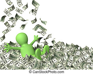 Wealth - Happy puppet and a money rain. Isolated over white