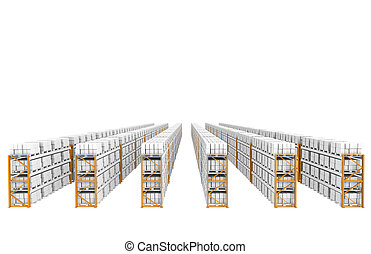 Rack x 60 - Shelves Top Perspective view Part of Warehouse...