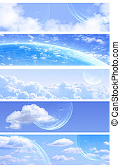 Collection of space banners - Collection of horizontal space...