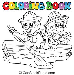 Coloring book with scouts in boat - vector illustration.