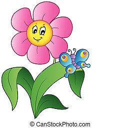 Cartoon flower with butterfly - vector illustration
