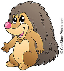 Cute cartoon hedgehog - vector illustration