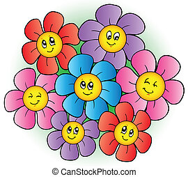 groupe, dessin animé, fleurs