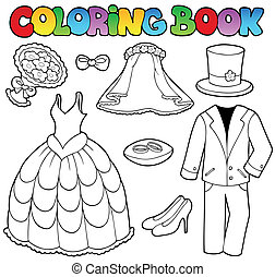 Coloring book with wedding clothes - vector illustration