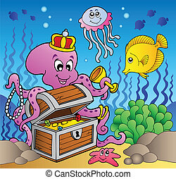 Cartoon octopus on treasure chest - vector illustration