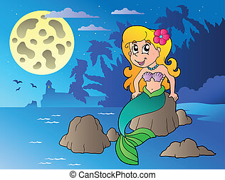 Night seascape with cartoon mermaid