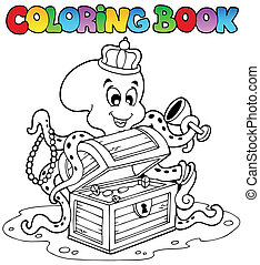 Coloring book with octopus - vector illustration
