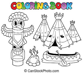 Coloring book with totem - vector illustration.