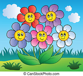Five cartoon flowers on meadow - vector illustration.