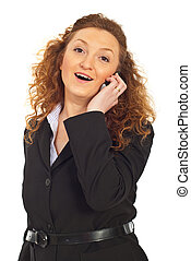 Cheerful business woman speaking by cell phone