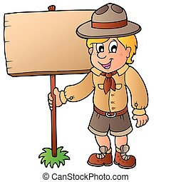 Scout boy holding wooden board - vector illustration.
