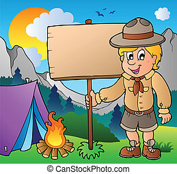Scout boy holding board outdoor - vector illustration