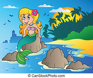 Seascape with cartoon mermaid - vector illustration.
