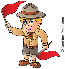 Scout boy giving flag signal - vector illustration.