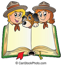 Opened book with two scouts and dog - vector illustration.