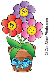 Pot with three cartoon flowers - vector illustration