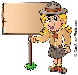 Scout girl holding wooden board - vector illustration.