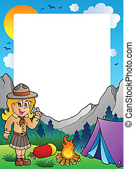 Summer frame with scout theme 2 - vector illustration