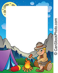 Summer frame with scout theme 3 - vector illustration