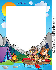Summer frame with scout theme 4 - vector illustration