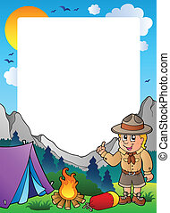 Summer frame with scout theme 1 - vector illustration