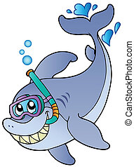 Shark snorkel diver - vector illustration
