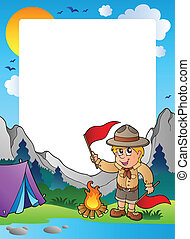 Summer frame with scout theme 5 - vector illustration