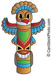 Tall Indian totem - vector illustration.