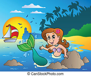 Seascape with swimming mermaid - vector illustration.