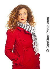 Beautiful autumn woman in red jacket
