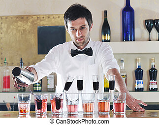 pro barman prepare coctail drink on party - pro barman...