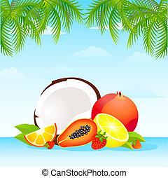 Seasonal varied tropical fruit basket