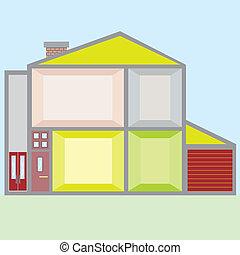 boneca, casa, vetorial, Ilustração