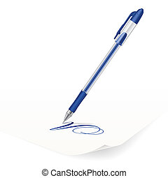 Ballpoint pen - Vector image of blue ballpoint pen writing...