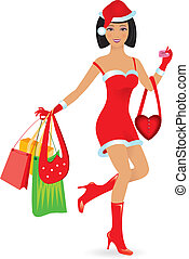 Happy shopping girl - Happy shopping caucasian girl on white...