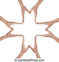 Hands forming a big medical cross