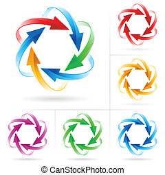 Set of arrow circles - Set 6 of different colored arrow...