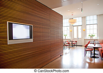 modern restaurant interior - modern stylish wall in...