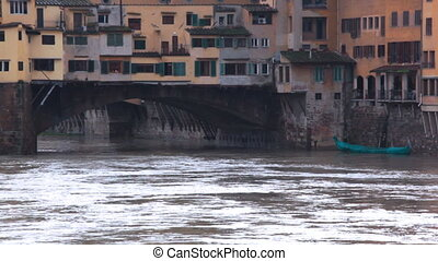 Buildings over water on Ponte Vecchio