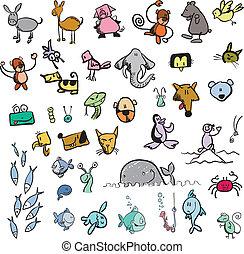 comic vector animal set