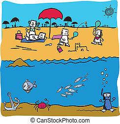 under the sea vector beach